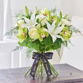 Luxury Lily and Green Orchid Hand tied *